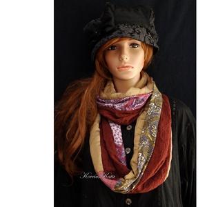 INFINITY/ ősz -  patchwork körsál, csősál , Táska, Divat & Szépség, Ruha, divat, Női ruha, Sál, sapka, kesztyű, Sál, Különleges, válogatott textilekből: csoki-barna és kávébarna organza, mintás jersey és pamutvászon f..., Meska