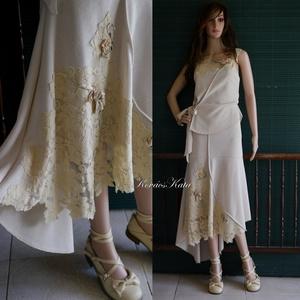 BETTINA - artsy jersey-ruha , Ruha & Divat, Női ruha, Alkalmi ruha & Estélyi ruha, Varrás, Mindenmás, Középvastag jersey-ből és elasztikus vajszínű csipkéből készítettem és gazdagon díszítettem ezt a  k..., Meska