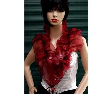 WRAP / bordó- fodros organza vállkendő, boleró, Női ruha, Ruha & Divat, Alkalmi ruha & Estélyi ruha, Varrás, Elegáns öltözék-kiegészítő különleges alkalmakra:\n\nBordó organzából  készült ez a különleges, romant..., Meska