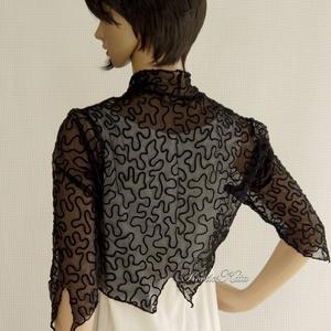 SZALAGOS -  exkluzív csipkeboleró, Bolero, Női ruha, Ruha & Divat, Varrás, Különleges, szalagmintás, elasztikus francia-csipkéből készült íves szabású, kényelmes modellem kitű..., Meska
