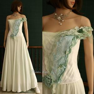 BERENICE - tündérruha kabátkával, Esküvő, Táska, Divat & Szépség, Menyasszonyi ruha, Esküvői ruha, Ruha, divat, Női ruha, Estélyi ruha, Halványzöld színezésű három-részes menyasszonyi öltözet:  - Selyem-ripszből készült könnyű, béleletl..., Meska