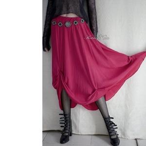 CHERI - exkluzív hernyóselyem design-szoknya, Női ruha, Ruha & Divat, Alkalmi ruha & Estélyi ruha, Varrás, Luxus-minőségű, gyönyörű esésű, meggyszínű hernyóselyemből készült libbenős szoknya. Formáját a felc..., Meska