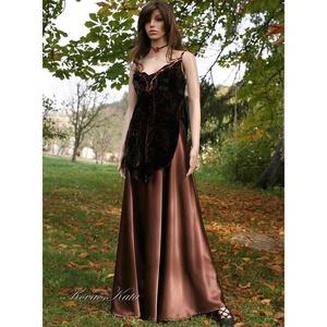 SZATÉN HOSSZÚ-SZOKNYA, Női ruha, Ruha & Divat, Alkalmi ruha & Estélyi ruha, Varrás, Meleg-barna színű krepp-szatén-ból készült hosszú, gloknis szoknya.\nAlkalmi ruhatárad elegáns darabj..., Meska