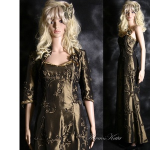EVITA - elegáns kétrészes estélyi taftruha, Ruha & Divat, Alkalmi ruha & Estélyi ruha, Női ruha, Sellőfazonú, spagettipántos hosszú-ruha látványos szalagrátétes óarany taftból. Hozzá anyagából kész..., Meska