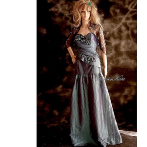 EVELYN - estélyi taftruha hímzett tüllboleróval, Ruha & Divat, Alkalmi ruha & Estélyi ruha, Női ruha, Látványos ruha-különlegesség mély-türkiz színű taftból és gyönyörű hímzett tüllből.  Mérete S Egyedi..., Meska