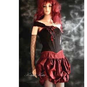 BABETT - romantikus koktélruha, alternatív menyecske ruha, Alkalmi ruha & Estélyi ruha, Női ruha, Ruha & Divat, Varrás, Dekoratív, aszimmetrikusan díszített halcsontos fűzőből (az anyag enyhén elasztikus vászon) és plisz..., Meska