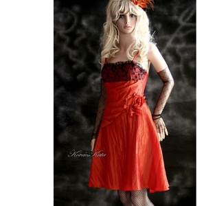 """PAMINA - romantikus koktélruha, Táska, Divat & Szépség, Ruha, divat, Női ruha, Estélyi ruha, Varrás, Narancs-színű taftból és apró margarétás tüllcsipkéből \""""álmodtam meg\"""" ezt a nőiesen csini modellem.\n..., Meska"""