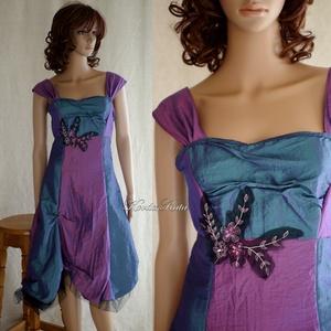 """GLENDA - romantikus koktélruha, Táska, Divat & Szépség, Ruha, divat, Női ruha, Estélyi ruha, Varrás, Orchidea-és türkiz taftból \""""dominósan\"""" összeállított modellem némi tüllcsipke díszítéssel, alján tül..., Meska"""