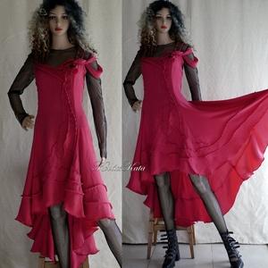 TAMARA-LUX - hernyóselyem design-ruha, estélyiruha, menyecske ruha, Női ruha, Ruha & Divat, Alkalmi ruha & Estélyi ruha, Varrás, Ezt a különleges szabású, művészi megjelenésű alkalmi ruhát meggyszínű hernyóselyemből készítem.\nAz ..., Meska
