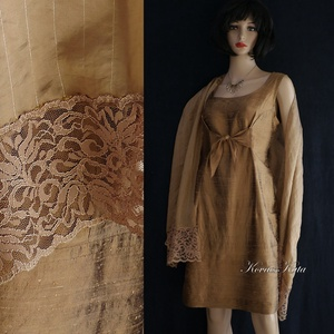 SHANTUNG koktélruha, örömanya ruha stólával, Táska, Divat & Szépség, Női ruha, Ruha, divat, Estélyi ruha, Esküvői ruha, Varrás, Nemesen-elegáns modell különleges alkalmakra:\ngyönyörű aranybarna selyem-shantungból készítettem azt..., Meska