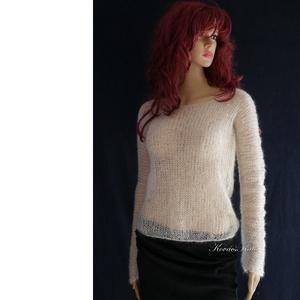 TIFFANY / fehér - szexi selyem-mohair pulóver - kézzel kötött, Ruha & Divat, Pulóver & Kardigán, Női ruha, Luxus-minőségű hernyóselyem-kid-mohair-fonalból lazán kötött hosszú-ujjú, -pille-könnyű pulcsi tört-..., Meska
