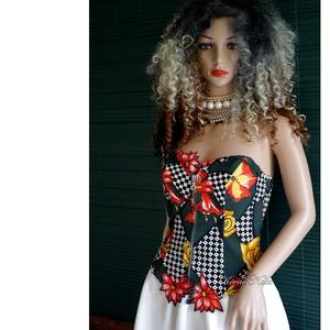 VERSACE-MINTÁS MÍDER - bohém design fűző, Női ruha, Ruha & Divat, Alkalmi ruha & Estélyi ruha, Varrás, Jó tartású Versace designer-vászonból készült ez a látványos, elöl zippes míderem\n\nBohém menyecske ö..., Meska