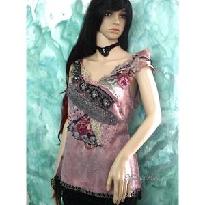 MELANKÓLIA  - kollázs blúz, Női ruha, Ruha & Divat, Alkalmi ruha & Estélyi ruha, Varrás, Festett tárgyak, Meseszép textil-kollázs selyemblúzom hölgyeknek, akik értékelik az időtálló, finom, stílusos darabok..., Meska