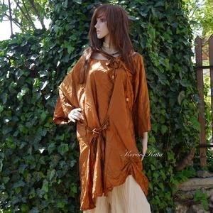 TANITA/LUX - exkluzív selyemtunika XXL, Női ruha, Ruha & Divat, Alkalmi ruha & Estélyi ruha, Varrás, Gyönyörű réz-színű hernyóselyemből készítettem ezt a nagyvonalú tunika-ruhát.\n\nA csípőn a bősége köt..., Meska