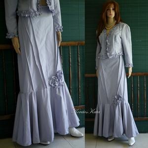 GIZA - artsy romantikus kosztüm, örömanya ruha, Esküvő, Táska, Divat & Szépség, Ruha, divat, Női ruha, Kosztüm, Varrás, Antik-lila színű, bársonyos, matt felületű selyem-spandex anyagból készült kétrészes.\nFodros-szélű r..., Meska