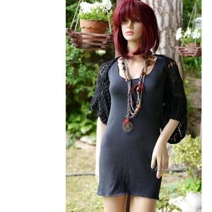 BOHO-BOLERÓ - kézzel kötött rövid kardigán / fekete - ruha & divat - női ruha - bolero - Meska.hu