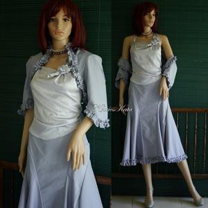 GIZA-SZETT - romantikus design- háromrészes ruha: szoknya, boleró, selyemtop, Táska, Divat & Szépség, Ruha, divat, Női ruha, Ruha, Kosztüm, Varrás, Antik-lila színű, bársonyos, matt felületű selyem-spandex anyagból készült ez a romantikus szett.\nA ..., Meska