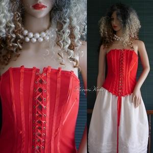 VEZÚV-míder / piros - design fűző - menyecske ruha, Alkalmi ruha & Estélyi ruha, Női ruha, Ruha & Divat, Varrás, Halcsont merevítésű, fűzős míder jó tartású elasztikus kelméből, szaténszalag díszítéssel.\nAkár meny..., Meska