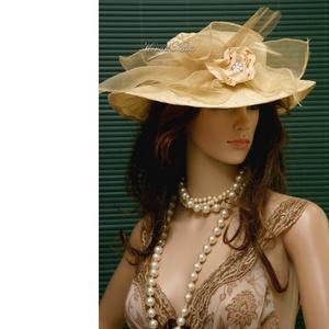 LADY-KALAP - vanília esküvői kalap (Aranybrokat) - Meska.hu