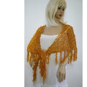 FLAMINGÓ - exkluzív kézzel kötött selyem vállkendő / narancs, Vállkendő, Sál, Sapka, Kendő, Ruha & Divat, Kötés, Pihe-puha exkluzív selyem-fonalakból készült stóláim, kendőim látványos díszei lehetnek az egyszerű ..., Meska