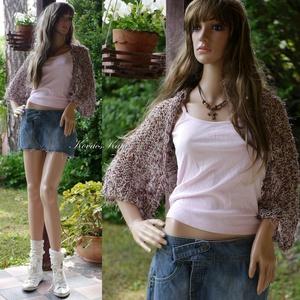 BOHO-BOLERÓ - kézzel kötött rövid kardigán / barna XL - ruha & divat - női ruha - bolero - Meska.hu