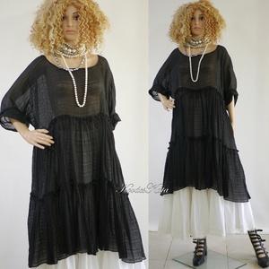 THALIA - romantikus lagenlook ruha XXL, Ruha & Divat, Női ruha, Alkalmi ruha & Estélyi ruha, Éj-fekete könnyű jacquard organzából készült extra-nagy méretű baby-doll ruha kétlépcsős fodor-aljja..., Meska