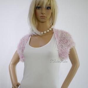 FLAMINGÓ - exkluzív kézzel kötött selyem-műszőrme boleró / púder-rózsa - ruha & divat - női ruha - bolero - Meska.hu