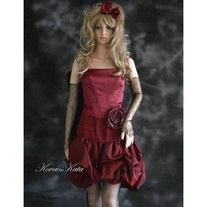TILDA - romantikus dolly-ruha: buborék-szoknya fűzővel, menyecske ruha, Alkalmi ruha & Estélyi ruha, Női ruha, Ruha & Divat, Varrás, Kétrészes-fűzős modellem pliszírozott taftból és elasztikus düseszből készítettem.\nA derékon gyöngyh..., Meska