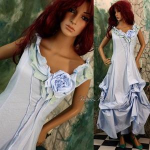 VALERIE - estélyi vagy menyasszonyi ruha, Alkalmi ruha & Estélyi ruha, Női ruha, Ruha & Divat, Festett tárgyak, Varrás, Különleges megjelenésű modellemet pasztell-kék, selymes felületű, taftosan habosítható pamutvászonbó..., Meska