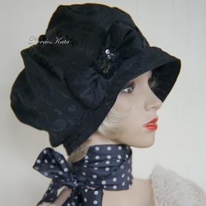 LOLI-SAPI - antik-brokát sapka, selyem kalap, Táska, Divat & Szépség, Ruha, divat, Sál, sapka, kesztyű, Sapka, Női ruha, Könnyű, kreatívan hordható nőies fejfedő antik gyapjú-brokátból és brokát-mintás jacquard-selyemből...., Meska
