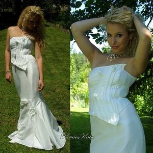 LÉDA - exkluzív fűzős menyasszonyi ruha, Esküvő, Menyasszonyi ruha, Ruha, Különleges, szexi, sellő-sziluettű menyasszonyi ruha hófehér taft-selyemből. Aszimmetrikus, piékkel ..., Meska