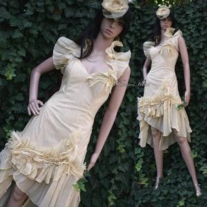 IZA GOLD - design koktélruha, alternatív menyasszonyi öltözet (Aranybrokat) - Meska.hu
