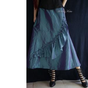 TAFT-SZOKNYA / kék - romantikus estélyi szoknya, Ruha & Divat, Női ruha, Alkalmi ruha & Estélyi ruha, Varrás, Kék színű taftból készült alkalmi szoknya ívelten szabott fodorral .\n\nMérete: L\nVásárlás előtt egyez..., Meska