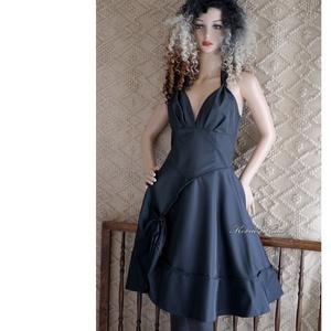 MARILYN - pin-up taft koktélruha, Ruha & Divat, Női ruha, Alkalmi ruha & Estélyi ruha, Varrás, Sötétszürke, szép tartású matt taftból készült, nőies, nyakba-kötős modellem körgloknis szoknya-rész..., Meska