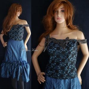 KÉKVIRÁG - romantikus kétrészes báli-ruha, Ruha & Divat, Női ruha, Alkalmi ruha & Estélyi ruha, Vadkacsa-kék-fekete kétrészes alkalmi ruha: Rózsás csipke-míder szabott, fodros-tüllös aljú taftszok..., Meska