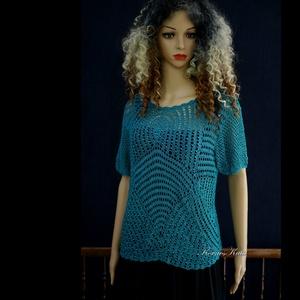 SELYEM-PULCSI / vadkacsa-kék gépi kötött gyöngyös alkalmi pulóver , Ruha & Divat, Női ruha, Alkalmi ruha & Estélyi ruha, Mindenmás, Meska