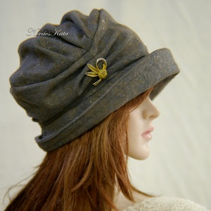 ERNA-CLOCHE / Valentino - exkluzív design flapper-kalap / taupe (Aranybrokat) - Meska.hu