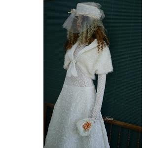 LAURA-SZETT - romantikus téli menyasszonyi öltözet (Aranybrokat) - Meska.hu