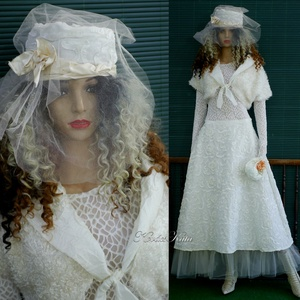 LAURA-SZETT - romantikus téli menyasszonyi öltözet, Esküvő, Ruha, Menyasszonyi ruha, Varrás, Meska