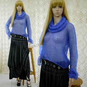 TIFFANY / királykék - szexi selyem-mohair pulóver kámzsával - kézzel kötött, Ruha & Divat, Női ruha, Pulóver & Kardigán, Luxus-minőségű hernyóselyem-kid-mohair-fonalból lazán kötött hosszú-ujjú, -pille-könnyű pulcsi külön..., Meska