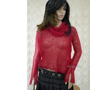 TIFFANY / piros - szexi selyem-mohair pulóver kámzsával - kézzel kötött, Ruha & Divat, Női ruha, Pulóver & Kardigán, Luxus-minőségű hernyóselyem-kid-mohair-fonalból lazán kötött hosszú-ujjú, -pille-könnyű pulcsi külön..., Meska