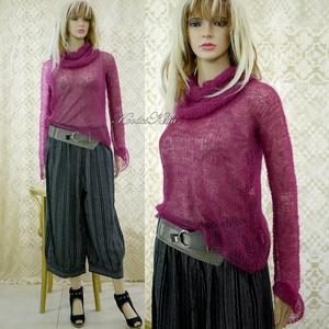 TIFFANY / bordó - szexi selyem-mohair pulóver kámzsával - kézzel kötött, Ruha & Divat, Női ruha, Pulóver & Kardigán, Luxus-minőségű hernyóselyem-kid-moher-fonalból lazán kötött hosszú-ujjú, -pille-könnyű pulcsi különá..., Meska