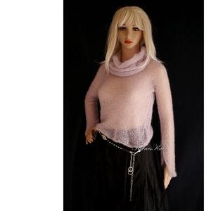 TIFFANY/púder - szexi selyem-mohair pulóver kámzsával - kézzel kötött, Ruha & Divat, Pulóver & Kardigán, Női ruha, Luxus-minőségű hernyóselyem-kid-mohair-fonalból lazán kötött hosszú-ujjú, -pille-könnyű pulcsi púder..., Meska