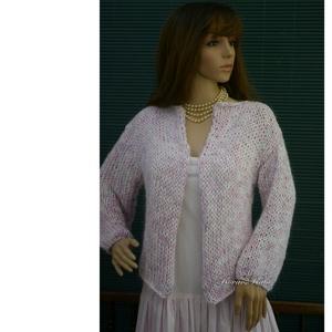 MIGNON - kézzel kötött exkluzív kardigán, pulóver , Ruha & Divat, Női ruha, Pulóver & Kardigán, Gyönyörű, rózsaszín-fehér színátmenetes viszkózselyem-pamut-fonalból és minőségi akrilfonalból kötöt..., Meska