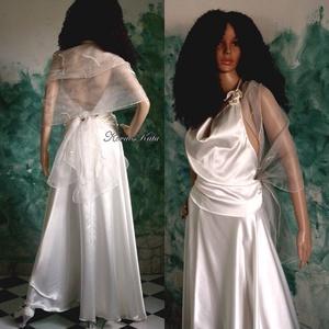 JÚLIA - estélyi, vagy menyasszonyi ruha, Esküvő, Menyasszonyi ruha, Ruha, Finom krém-színű szatén-selyem kétrészes szett organza-stólával. Földig érő körgloknis szoknya hát-n..., Meska