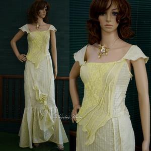 NINA - alternatív menyasszonyi ruha, Esküvő, Ruha, Menyasszonyi ruha, Sellő-fazonú menyasszonyi ruha különlegesség aszimmetrikus, artsy részletekkel, applikációkkal. Szín..., Meska