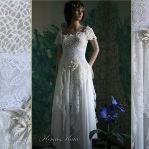 IZABELL - artsy patchwork menyasszonyi ruha , Esküvő, Ruha, Menyasszonyi ruha, Válogatott francia csipkékből és muszlin-cakkokból összeállított, látványosan különleges menyasszony..., Meska