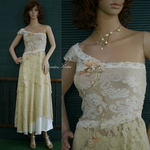 PETRA - romantikus csipkeruha, Ruha & Divat, Női ruha, Alkalmi ruha & Estélyi ruha, Antik-bézs színekből összeállított, vintage stílusú csipkékből, és jersey-ből álló kétrészes ruhácsk..., Meska