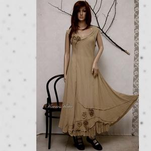 KREOL - design-ruha, Női ruha, Ruha & Divat, Alkalmi ruha & Estélyi ruha, Varrás, Rusztikus, szép esésű, ripsz-szövésű,középvastag pamut-zsorzsettből készült hosszú-ruha.\nRózsa-appli..., Meska