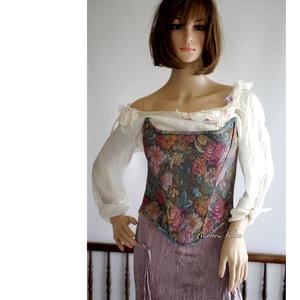 GOBELIN-RÓZSÁS míder, Női ruha, Ruha & Divat, Alkalmi ruha & Estélyi ruha, Varrás, Csodásan-szép gobelin-rózsás elasztikus jacquard kelméből készítettem ezt a romantikus darabom.\n\nA X..., Meska